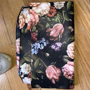 Anthropologie Black Floral Clutch